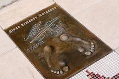 Les empreintes de pas de Maradona Photos stock