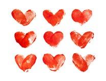 Les empreintes digitales sous forme de coeurs sur le fond blanc Images stock