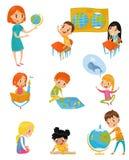 Les enfants à l'ensemble de leçon de géographie, aux activités préscolaires et au concept d'éducation de petite enfance dirigent  illustration de vecteur
