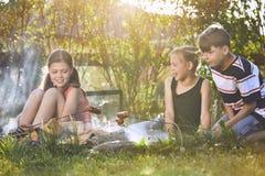 Les enfants apprécient le feu de camp Photographie stock