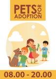 Les enfants avec des animaux familiers adoptent l'illustration d'affiche d'amitié Adoption de chien et de chat d'enfant d'amour illustration de vecteur