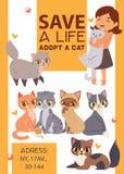 Les enfants avec des animaux familiers adoptent l'illustration d'affiche d'amitié Adoption d'enfant et de chat d'amour illustration libre de droits