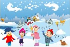 Les enfants chantent la Carol illustration stock