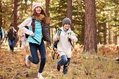 Les enfants courent en avant de la famille trimardant dans la forêt, la Californie, Etats-Unis photos stock