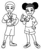 Les enfants d'aventure noircissent schéma illustration de vecteur
