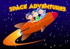 Les enfants dans des combinaisons spatiales montent la fusée illustration stock