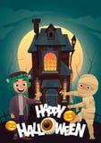 Les enfants dans le monstre costume le frankenstein et la maman à la bannière heureuse de Halloween de des bonbons ou un sort de  illustration de vecteur