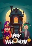 Les enfants dans le monstre costume la sorcière et le frankenstein à la bannière heureuse de Halloween de des bonbons ou un sort  illustration stock