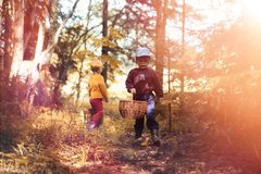 Les enfants dans le village marchent par la forêt et le gathe d'automne image libre de droits