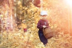 Les enfants dans le village marchent par la forêt et le gathe d'automne photographie stock libre de droits