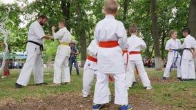 Les enfants de groupe dans le kimono participent karaté dehors, entraîneur dépensent des arts martiaux s'exerçant dans le parc, s banque de vidéos