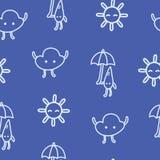 Les enfants dessinés survivent au modèle sans couture avec le soleil, le nuage et la goutte de pluie Photo libre de droits