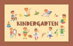 Les enfants dirigent des enfants de caractères de garçon de fille de bande dessinée jouant la musique sur la peinture de guitare  illustration stock