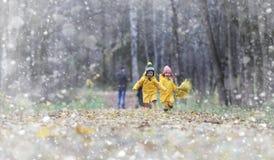 Les enfants en bas âge sur une promenade pendant l'automne se garent Premier gel et le premier photographie stock libre de droits