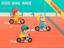 Les enfants font du vélo la course, garçons, filles emballent des vélos illustration libre de droits