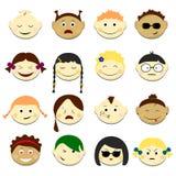 Les enfants font face à l'illustration réglée de vecteur Portraits d'Emoji avec la diverse coiffure d'émotions Images libres de droits
