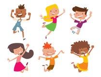 Les enfants heureux dans grand vecteur de différentes positions sautant le groupe gai d'enfant et la bande dessinée drôle badine  illustration libre de droits