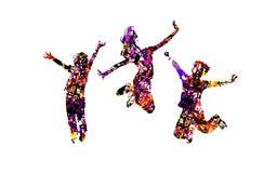 Les enfants heureux sautent avec l'effet de éclaboussement coloré Images stock
