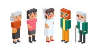les enfants isométriques de couples de la famille 3d badine le concept de personnes les icônes que plates aiment le premier maria Photo stock
