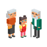les enfants isométriques de couples de la famille 3d badine les icônes plates de concept de personnes flirtant la première date d Images stock