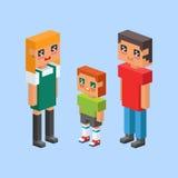 les enfants isométriques de couples de la famille 3d badine les icônes plates de concept de personnes flirtant la première date d Photo stock