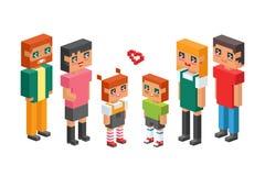 les enfants isométriques de couples de la famille 3d badine les icônes plates de concept de personnes flirtant la première date d Image libre de droits
