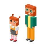 les enfants isométriques de couples de la famille 3d badine les icônes plates de concept de personnes flirtant la première date d Photographie stock