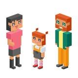 les enfants isométriques de couples de la famille 3d badine les icônes plates de concept de personnes flirtant la première date d Images libres de droits