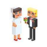 les enfants isométriques de couples de la famille 3d badine les icônes plates de personnes flirtant le premier mariage de date d' Photos libres de droits