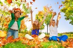 Les enfants jettent et jouent avec des feuilles dans la forêt Images stock