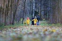 Les enfants marchent en parc d'automne photographie stock