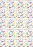 Les enfants marquent le fond à la craie sans couture d'alphabet de crayon dans des couleurs lumineuses Image stock