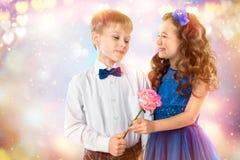 Les enfants mignons, garçon donne à une fleur la petite fille Jour du `s de Valentine Amour d'enfant images stock