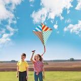 Les enfants ont plaisir à jouer avec un cerf-volant de vol dans le pré le jour ensoleillé Photos libres de droits