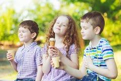 Les enfants ont plaisir à manger la crème glacée en parc d'été photos libres de droits
