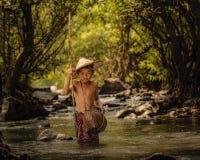Les enfants pêchent Photographie stock libre de droits