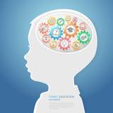 Les enfants pensent avec des icônes d'éducation illustration de vecteur