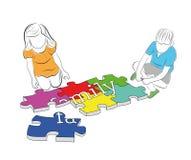 Les enfants rassemblent le ` de famille de ` de mot des puzzles Illustration de vecteur images stock