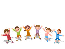 Les enfants rient côte à côte illustration de vecteur