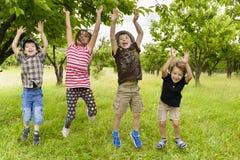 Les enfants sautant dans un verger Photo libre de droits
