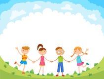 Les enfants sautent sur la clairière, vecteur drôle de bande dessinée de bunner, illustration Photo stock