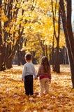 Les enfants se tiennent en parc d'automne tenant des mains Photos stock