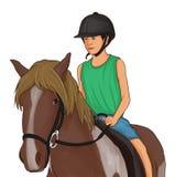 Les enfants sont montés sur les chevaux bruns photographie stock libre de droits