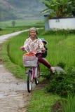 Les enfants sur le vélo au riz met en place en vallée de PA de SA au Vietnam images libres de droits