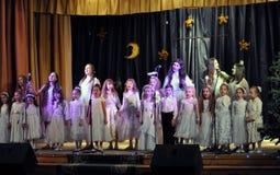 Les enfants ukrainiens célèbrent le _4 de St_ Nicholas Day Photos stock