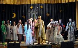 Les enfants ukrainiens célèbrent St_ Nicholas Day Image libre de droits