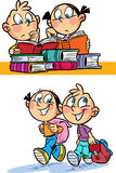 Les enfants vont à l'école illustration de vecteur