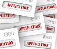 Les enveloppes de Word d'application beaucoup de candidats appliquent Job Loan Letter Photos stock
