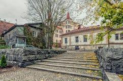 Les escaliers dans la vieille ville de Vyborg Image libre de droits