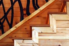 Les escaliers en bois se ferment vers le haut Photos stock